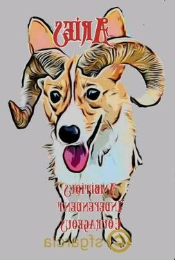 Aries Corgi Sticker, small sticker clear around image, stay