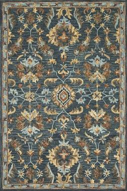 Arts & Crafts William Morris Style Wool Blue Gray Area Rug *