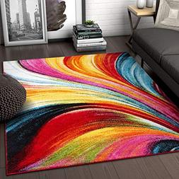 Aurora Multi Red Yellow Orange Swirl Lines Modern Geometric