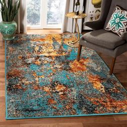loomBloom Autumn Turquoise Gold  Modern & Contemporary Area