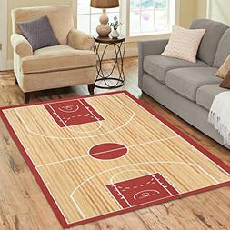 InterestPrint Sports Basketball Court Area Rug Floor Mat 7'