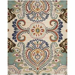 Safavieh Bella Collection BEL118A Handmade Ivory and Blue Pr