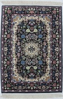 Black Thick Pile Hand-Knotted New Kirman 2X3 Oriental Home D