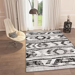 "Black and White Grey Distressed Tribal Print Area Rug 5'3"" x"