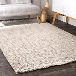nuLOOM NCCL01E Handwoven Chunky Loop Jute Rug, 3' x 5', Off