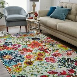 Mohawk Home Blossoms Floral Area Rug  Cream/Magenta/Navy 8'