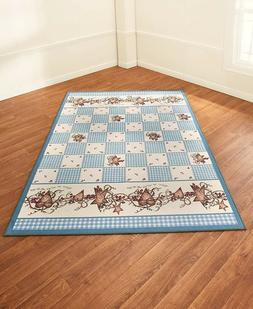 Blue Area Rug Nonskid Hearts & Stars Country Rustic Primitiv