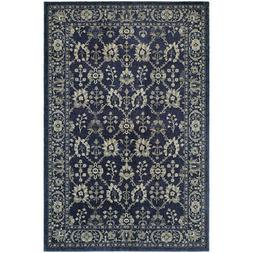 10x13 Blue Vines Circles Leaves Bordered Area Rug Sphinx - A