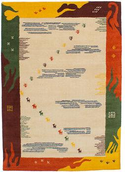 "Bordered, Gabbeh, Tribal Handmade Area Rug 5'3"" x 7'6"" Orien"