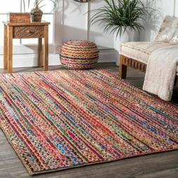 nuLOOM Braided Bohemian Natural Jute and Cotton Blend Area R