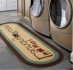 Ottomanson Brown Laundry Room Runner Rug With Durable Non-Sl