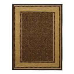 Large Brown w/Border Non-Skid No-Slip Area Rug, Stain & Fade
