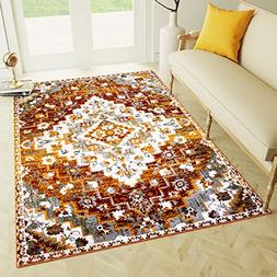 8 x 10 Area Rug Burnt Orange Southwestern Diamond Rug for Li