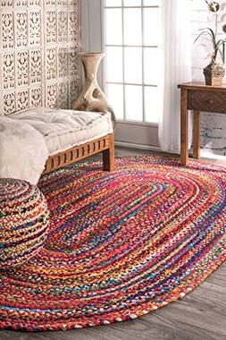 nuLOOM Casual Handmade Braided Cotton Oval Area Rug, 3' x 5'