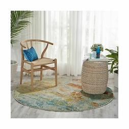 "CELESTIAL Area Rug, 7'10""XROUND, SEALIFE 100% Polypropylene"