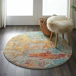 Nourison Celestial Sealife Multicolor Abstract Round Rug - 4