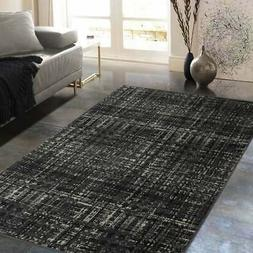 Allstar Rugs Charcoal Grey and Black Rectangular Accent Area