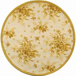Safavieh Chelsea Floral Ivory / Gold Wool Area Rug 3' x 3' R