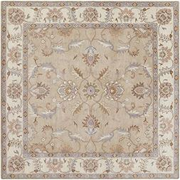 "Art of Knot chenni Area Rug, 9'9"" Square, Camel/Cream/Medium"