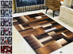 Handcraft Rugs Chocolate Brown/Beige/Gold Abstract Geometric