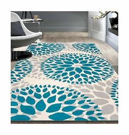 Rugshop Circles Design Area Rug, 5' x 7', Blue 5' x 7'