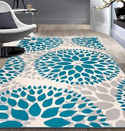Modern Floral Circles Design Area Rugs 5 X 7 Ft Blue Polypro
