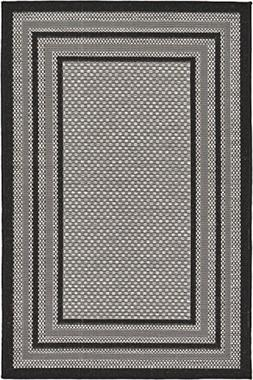 Unique Loom Outdoor Collection Solid Border Casual Indoor an