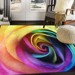 Alaza Colorful Rainbow Rose Flower Area Rug Rugs For Living
