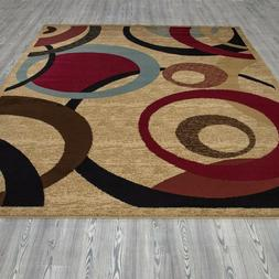 Contemporary Abstract Beige 8 ft. x 10 ft. Area Rug