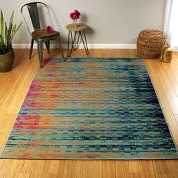 Contemporary Abstract Multi Color Indoor Outdoor Area Rug **