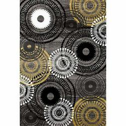 Contemporary Circles Yellow and Grey Polypropylene Area Rug