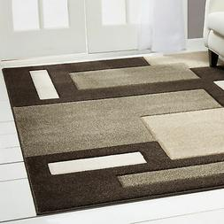 Contemporary Dark Brown Modern Area Rug Hand Carved Squares