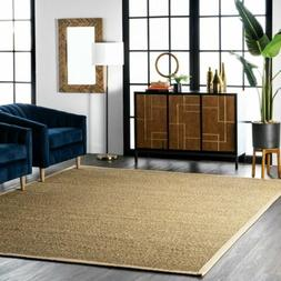 nuLOOM Contemporary Elijah Natural Seagrass with Border Beig