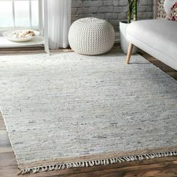 nuLOOM Contemporary Flatweave Liani Cotton Area Rug in Beige