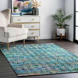 nuLOOM Contemporary Hand Woven Chevron Rochell Area Rug in G