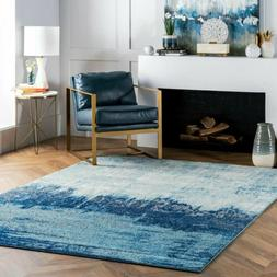 nuLOOM Contemporary Modern Abstract Area Rug in Blue, White,