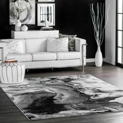 nuLOOM Contemporary Modern Abstract Marble Area Rug in Grey,