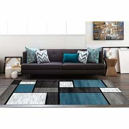 """Rugshop Contemporary Modern Boxes Area Rug, 6'6"""" x 9', Blue"""