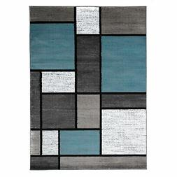 "Contemporary Modern Boxes Area Rug 7' 10"" X 10' 2"" Blue/Gray"