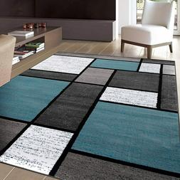 "Contemporary Modern Boxes Area Rug 5' 3"" X 7' 3"" Blue/Gray"