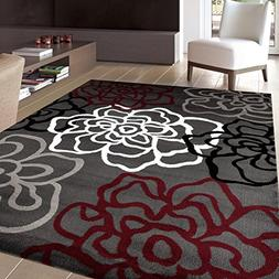 """Rugshop Contemporary Modern Floral Flowers Area Rug, 7' 10"""""""