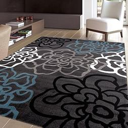 Rugshop Contemporary Modern Floral Flowers Area Rug, 7' 10""
