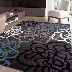 RUGSHOP CONTEMPORARY MODERN FLORAL FLOWERS GRAY SOFT AREA RU
