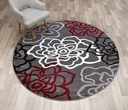 Rugshop Contemporary Modern Floral Flowers Round Area Rug, 6