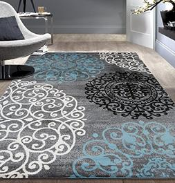 "Floral Indoor Soft Area Rug 7'10"" x 10'2"" Gray"
