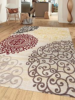 Rugshop Contemporary Modern Floral Indoor Soft Area Rug, 7'1