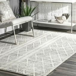 nuLOOM Contemporary Modern Geometric Banded Area Rug in Grey