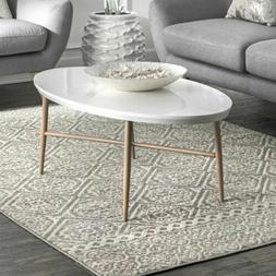nuLOOM Contemporary Modern Geometric Tiles Area Rug in Grey