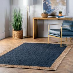 contemporary modern simple bordered natural jute area