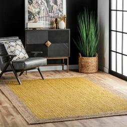 nuLOOM Contemporary Modern Simple Bordered Natural Jute Area